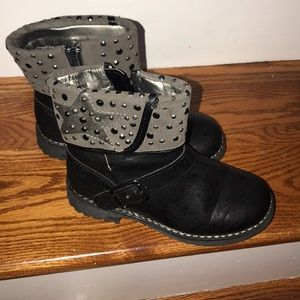 Gently used black studded boots